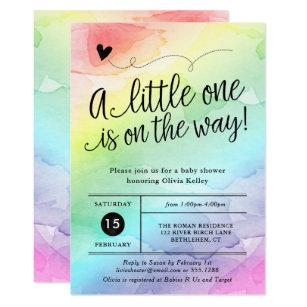 Rainbow Baby Shower, Gender Neutral Watercolor Invitation