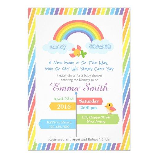 rainbow baby shower invitation zazzle