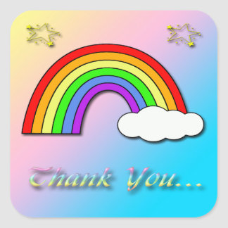 Rainbow Baby Shower Thank You envelope seal Square Sticker