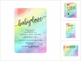 Rainbow Baby Shower Watercolor Collection