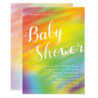 Rainbow Baby Shower Watercolor Gender Neutral Invitation