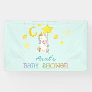 Rainbow Baby Unicorn Hanging from Stars & Moon Banner