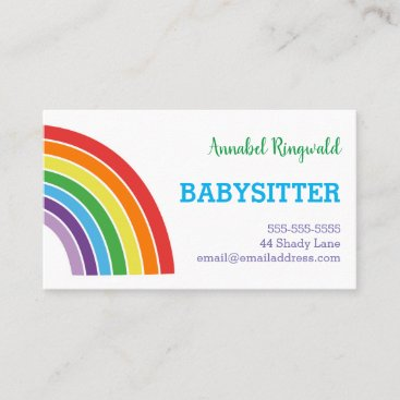 Rainbow Babysitter Childcare Provider Pretty Business Card