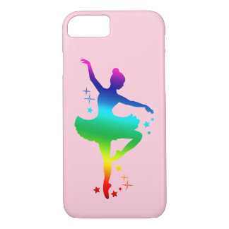 Rainbow Ballerina in Silhouette with Stars iPhone 7 Case