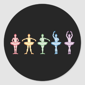 Rainbow Ballerinas Classic Round Sticker