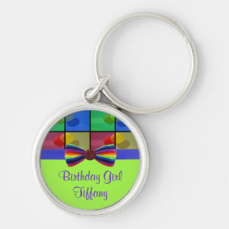 Rainbow Balloon Birthday Celebration Keychain