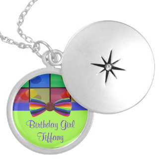 Rainbow Balloon Birthday Celebration Silver Plated Necklace