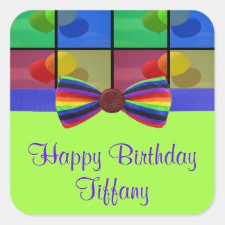Rainbow Balloon Birthday Celebration Square Sticker