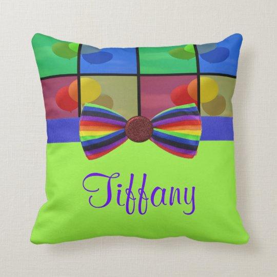 Rainbow Balloon Birthday Celebration Throw Pillow