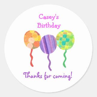 Rainbow balloon birthday favor label classic round sticker