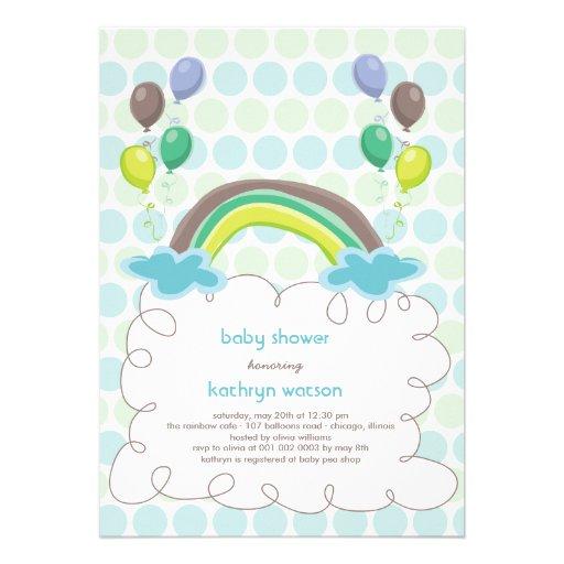 rainbow balloons baby boy shower invitation 5 x 7 invitatio
