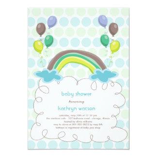 Rainbow & Balloons Baby Boy Shower Invitation