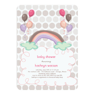 Rainbow & Balloons Baby Girl Shower Invitation