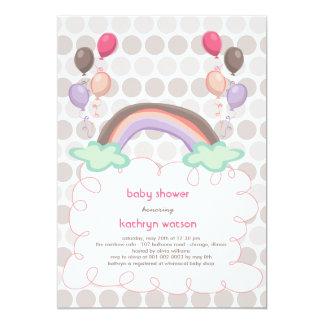 Rainbow & Balloons Baby Girl Shower Invitation