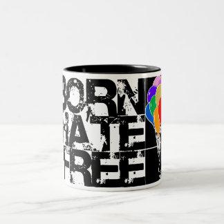 rainbow balloons. born hate free. black. Two-Tone coffee mug