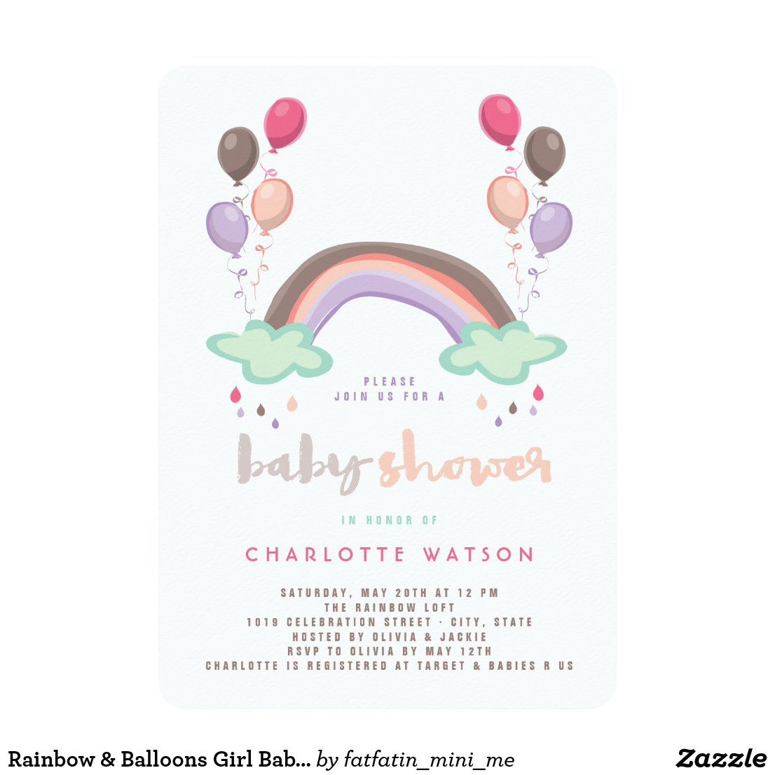 Rainbow & Balloons Girl Baby Shower Invitation