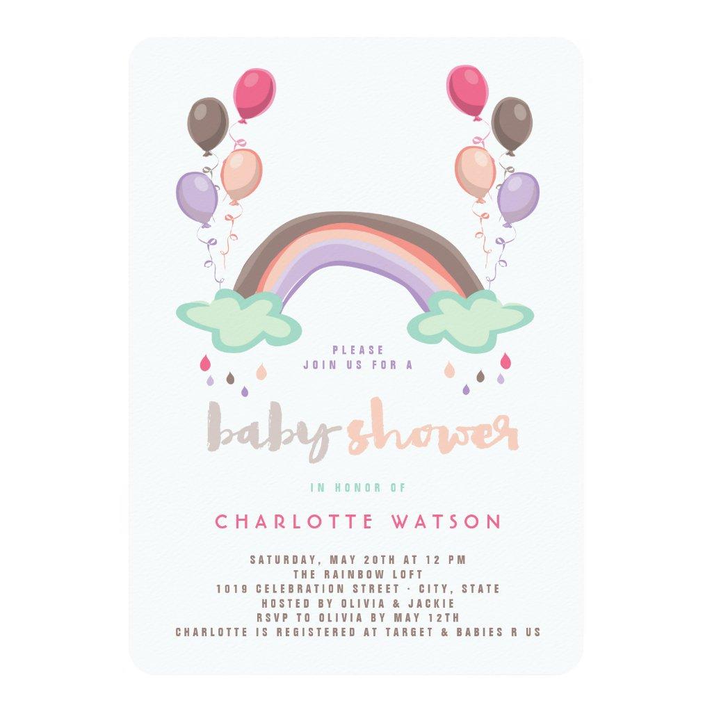 Rainbow & Balloons Girl Baby Shower Invitation