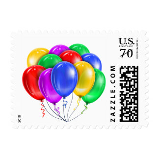Rainbow Balloons Party Postage Stamps