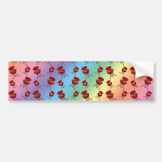 rainbow barbeque pattern bumper sticker