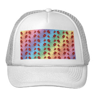 rainbow barbeque pattern trucker hat