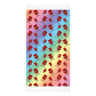 rainbow barbeque pattern customized photo card