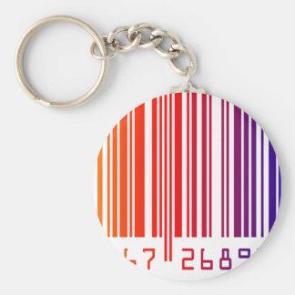 Rainbow Barcode Basic Round Button Keychain