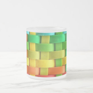 Rainbow Basket Weave Frosted Glass Mug
