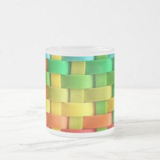 Rainbow Basket Weave Frosted Glass Mug