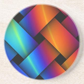 Rainbow Basket Weave Sandstone Coaster