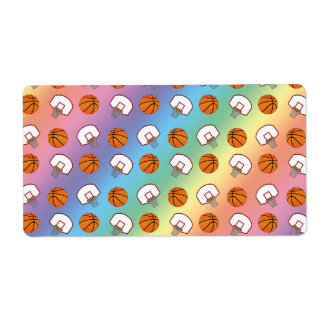 Rainbow basketballs and nets pattern custom shipping labels