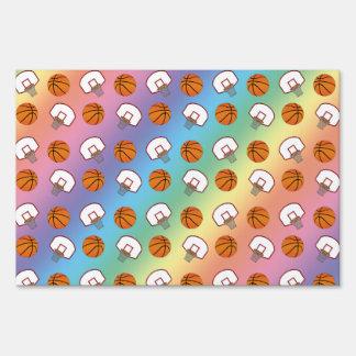 Rainbow basketballs and nets pattern sign
