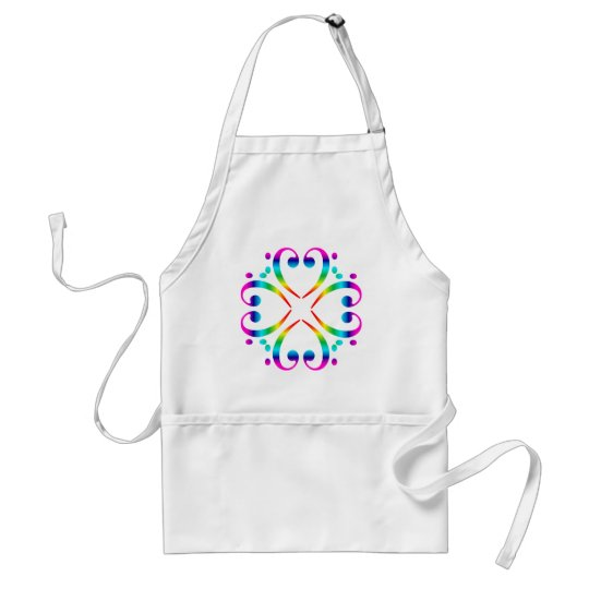 Rainbow Bass Clef Cluster Adult Apron