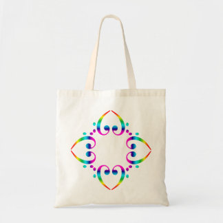 Rainbow Bass Clef Flower Tote Bags
