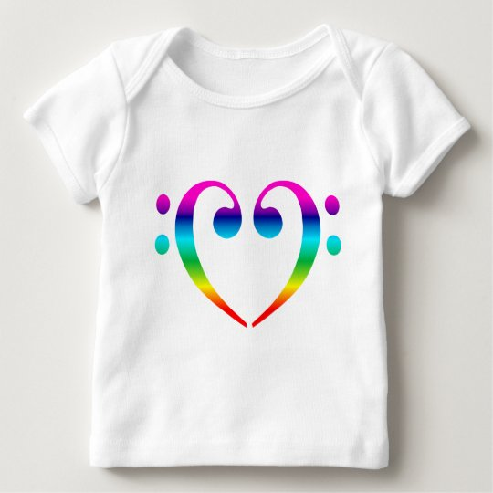Rainbow Bass Clef Heart Baby T-Shirt