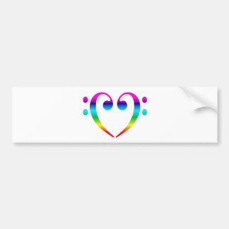 Rainbow Bass Clef Heart Bumper Sticker