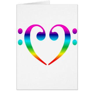 Rainbow Bass Clef Heart Card