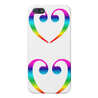 Rainbow Bass Clef Heart case for iphone 4