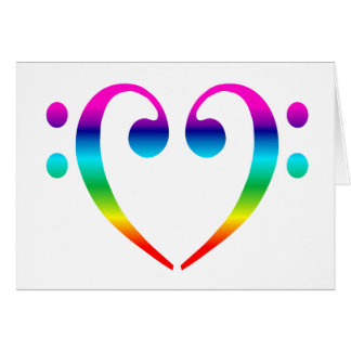 Rainbow Bass Clef Heart Greeting Card
