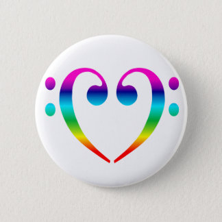 Rainbow Bass Clef Heart Pinback Button