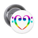 Rainbow Bass Clef Heart Pinback Buttons
