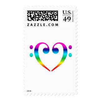Rainbow Bass Clef Heart Postage
