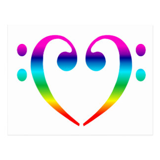 Rainbow Bass Clef Heart Postcard