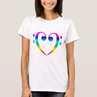 Rainbow Bass Clef Heart T-Shirt