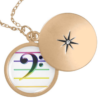 Rainbow Bass Clef Music Note Locket Necklace