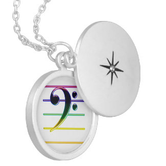 Rainbow Bass Clef Music Note Silver Plated Necklace