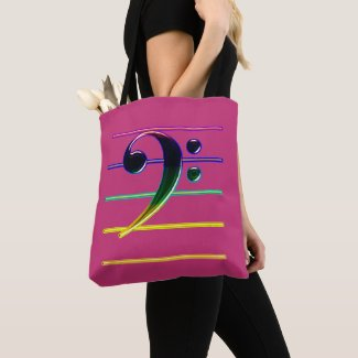Rainbow Bass Clef on Pink Tote Bag