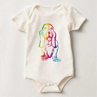 Rainbow Basset Hound Baby Bodysuit