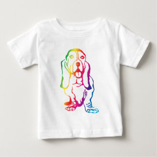 Rainbow Basset Hound Baby T-Shirt