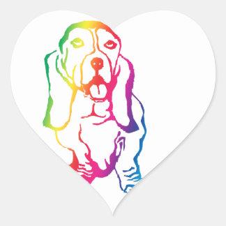 Rainbow Basset Hound Heart Sticker