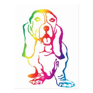 Rainbow Basset Hound Postcard